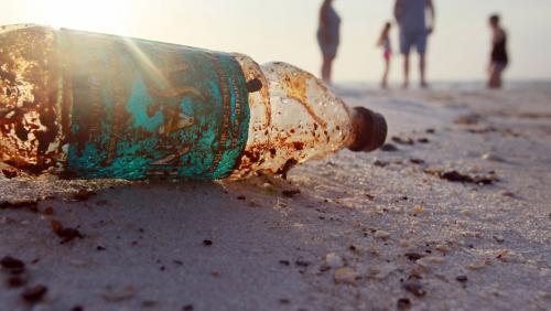 PET bottle on a beach
