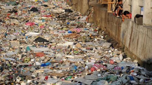 River full of plastic