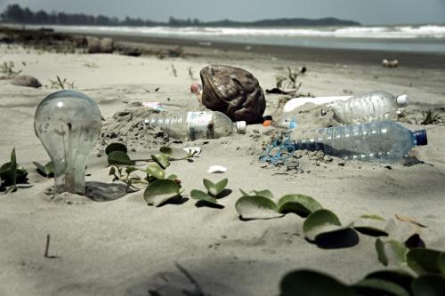 More plastic on a tropical beach