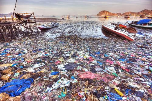 Plastic trash pollution Labuan Bajo (Flores Island Indonesia)