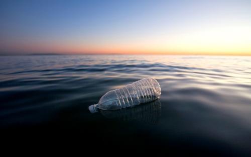 PET bottle floating in sea