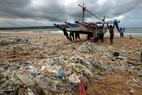 Plastic debris Bali Indonesia